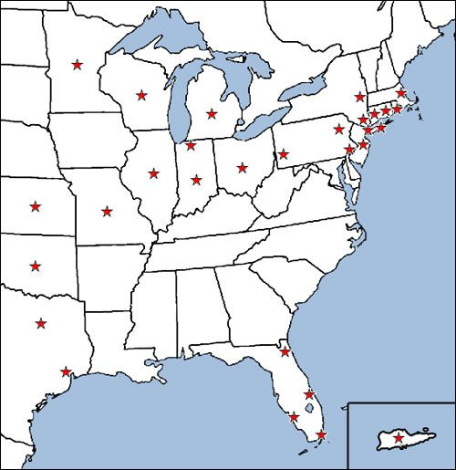 Map of American Association Areas