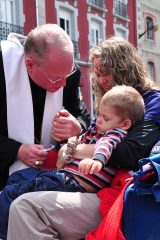 2011 Lourdes Pilgrimage - Archbishop Dolan with Malades (52/267)
