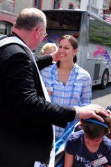 2011 Lourdes Pilgrimage - Archbishop Dolan with Malades (121/267)