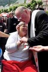 2011 Lourdes Pilgrimage - Archbishop Dolan with Malades (177/267)