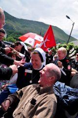 2011 Lourdes Pilgrimage - Archbishop Dolan with Malades (210/267)