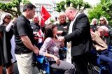 2011 Lourdes Pilgrimage - Archbishop Dolan with Malades (212/267)