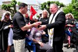 2011 Lourdes Pilgrimage - Archbishop Dolan with Malades (213/267)