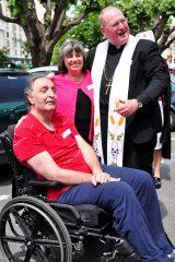 2011 Lourdes Pilgrimage - Archbishop Dolan with Malades (221/267)
