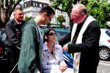 2011 Lourdes Pilgrimage - Archbishop Dolan with Malades (226/267)