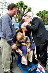 2011 Lourdes Pilgrimage - Archbishop Dolan with Malades (242/267)