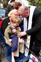2011 Lourdes Pilgrimage - Archbishop Dolan with Malades (244/267)