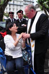 2011 Lourdes Pilgrimage - Archbishop Dolan with Malades (253/267)