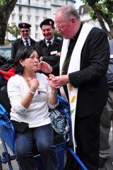 2011 Lourdes Pilgrimage - Archbishop Dolan with Malades (254/267)