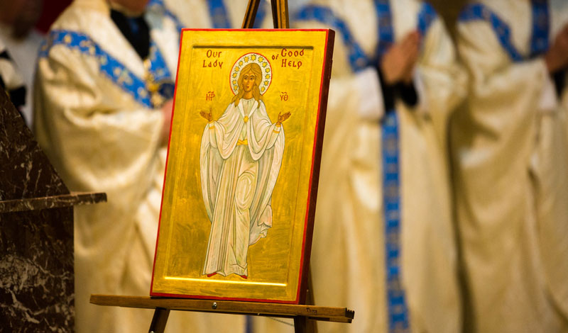 icon of blessed mother for pilgrimage to our lady of help in wisconsin