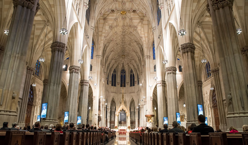 inside st. patrick's cathedral at the 2016 investiture mass for the order of malta, american association